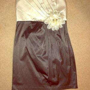 Strapless silk dress w/ flower and gems